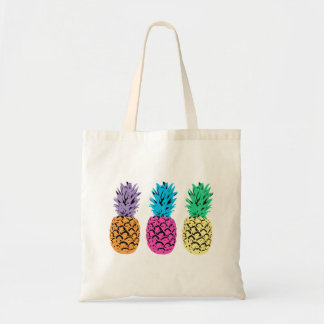 Illustrated colorful Pineapples Tote Bag