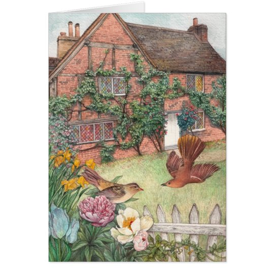 Illustrated cottage garden with birds card