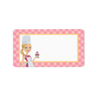 Illustrated Cupcake Girl Label in Medium Address Label