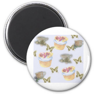illustrated cupcake teacup butterfly 6 cm round magnet