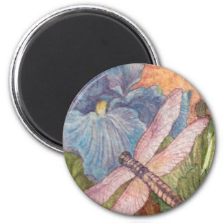 Illustrated Dragonfly Iris watercolor Magnet