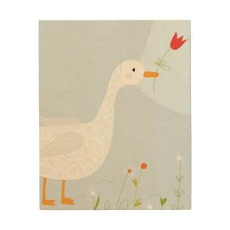 Illustrated Duck with Red Flower Wood Print