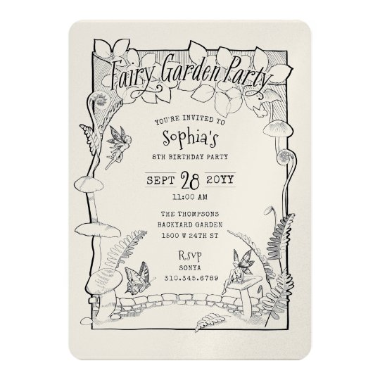 Illustrated Enchanted Fairy Garden Party Colouring Card