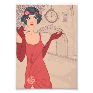 Illustrated Flapper Girl Art Photo