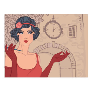 Illustrated Flapper Girl Postcard