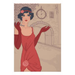 Illustrated Flapper Girl Poster