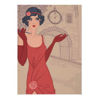 Illustrated Flapper Girl Poster