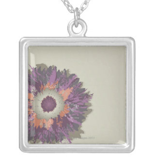 Illustrated Flower Silver Plated Necklace