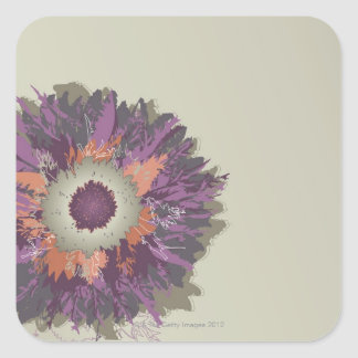 Illustrated Flower Square Sticker
