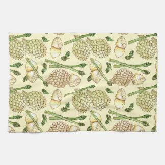 Illustrated Food Pattern: Artichokes &  Asparagus Tea Towel