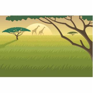 Illustrated Giraffes in Field Standing Photo Sculpture