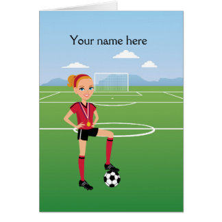 Illustrated Girl's Soccer Greeting Card