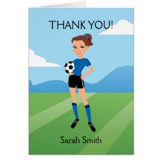 Illustrated Girl's Soccer Thank You Card