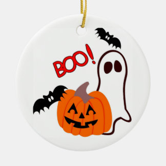 Illustrated Halloween Ghost and  Pumpkin Christmas Ornament