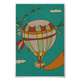 Illustrated Hot Air Balloon Photo Print