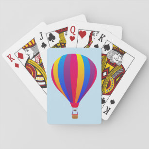 Illustrated hot air balloon playing cards