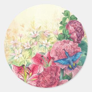 Illustrated hummingbird Fantasy Floral Classic Round Sticker