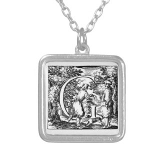 Illustrated Initial G (Italian) Silver Plated Necklace