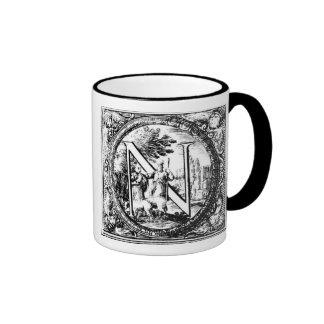 Illustrated Initial  N (Italian Woodcut) Ringer Mug
