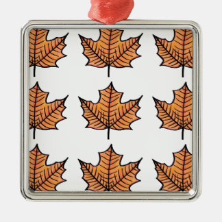 Illustrated Leaf Silver-Colored Square Decoration
