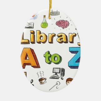 Illustrated Library A-Z Logo Christmas Ornament