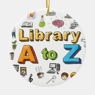 Illustrated Library A-Z Logo Round Ceramic Decoration