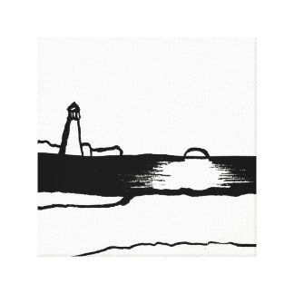Illustrated Lighthouse Landscape Canvas Print