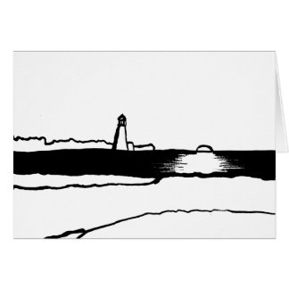 Illustrated Lighthouse Landscape Card