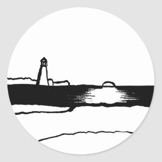 Illustrated Lighthouse Landscape Classic Round Sticker