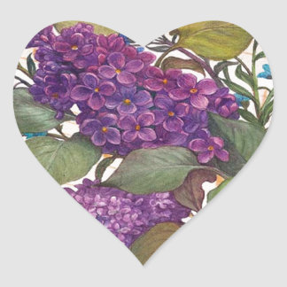 illustrated lilac butterfly theme wedding heart sticker