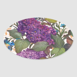illustrated lilac butterfly theme wedding oval sticker