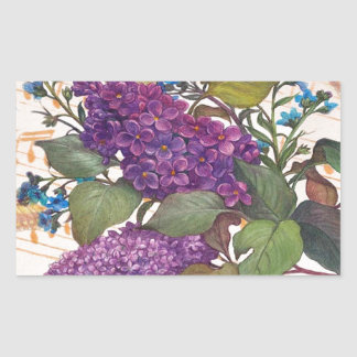illustrated lilac butterfly theme wedding rectangular sticker