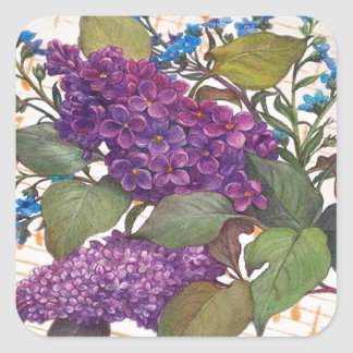 illustrated lilac butterfly theme wedding square sticker