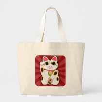 Illustrated Lucky Cat Large Tote Bag