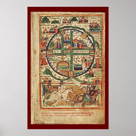 Illustrated Manuscript Jerusalem in Crusader Times Poster