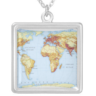 Illustrated Map 3 Silver Plated Necklace