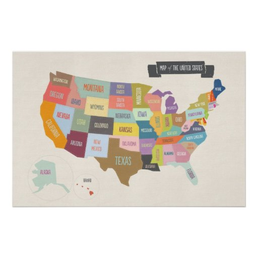 "Illustrated Map of America 24 x 36"" Wall"