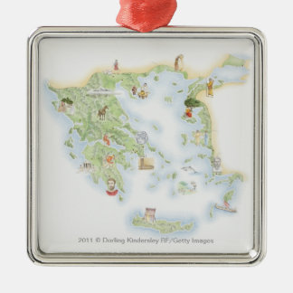 Illustrated map of Ancient Greece Christmas Ornament