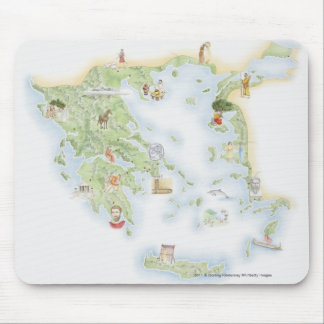 Illustrated map of Ancient Greece Mouse Pad