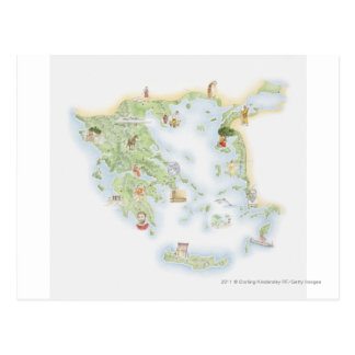 Illustrated map of Ancient Greece Postcard