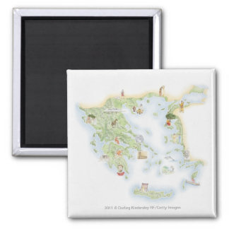 Illustrated map of Ancient Greece Square Magnet
