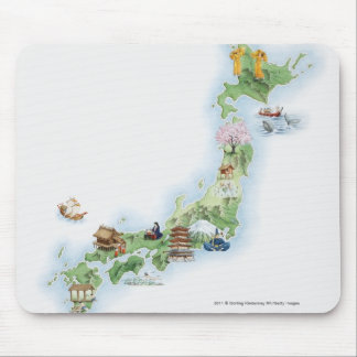 Illustrated map of ancient Japan Mouse Pad