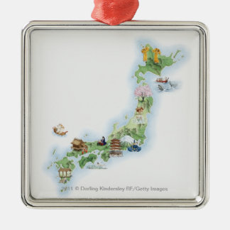 Illustrated map of ancient Japan Silver-Colored Square Decoration