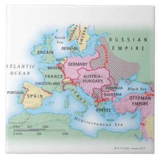 Illustrated Map of Europe Tile