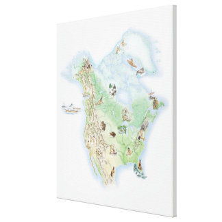 Illustrated map of North America Gallery Wrapped Canvas