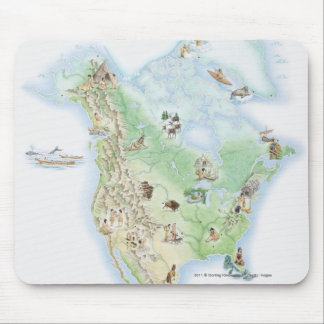 Illustrated map of North America Mouse Mat