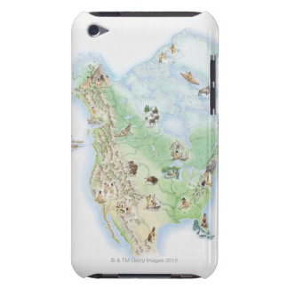 Illustrated map of North America showing iPod Touch Cover