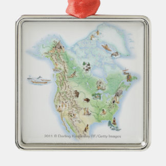 Illustrated map of North America Silver-Colored Square Decoration