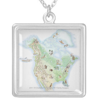 Illustrated map of North America Silver Plated Necklace