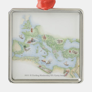 Illustrated map of Roman Empire Silver-Colored Square Decoration